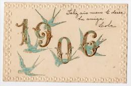 1906 New Year Celebration Bird Swallows  Carte Postale Original Postcard Cpa Ak (W3_2847) - Año Nuevo