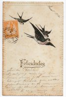 Bird Swallows Neuen Jahre New Year Celebration  Carte Postale Original Postcard Cpa Ak (W3_2859) - Año Nuevo