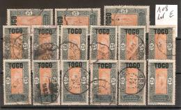 Petit Lot TOGO N° 108 Oblitérés 1 Douzaine + 3 Offerts (plusieurs Lots Identiques) Mis En Vente Séparémment / Lot E - Togo (1914-1960)