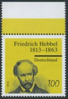 GERMANY Mi. 2990 MNH SINGLE W/ Top Margin -Friedrich Hebbel - Nuevos