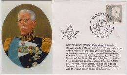 Freemasonry, Compass, King Gustav V Of Sweden, Freemason, Masonic Cover, Sweden - Franc-Maçonnerie