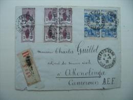 """FRANCE-""""Orphelins De Guerre"""" N°162 (x6) + N°165 (x4) Sur Lettre Recommandée De Rennes Pour Le Cameroun - France"""