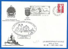 Marine Nationale - PH Jeanne D'Arc (4092) AE EV HENRY GEAOM 1990/91 - 24 12 1990 - Correo Naval