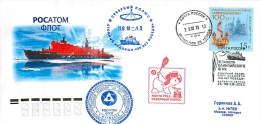 """RUSSIA 2013. The Olympic Torch Relay Sochi 2014. NORTH POLE. Aboard The Nuclear-powered Icebreaker """"50 Years Of Victory"""" - Atomo"""
