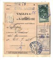 500/45 - REPUBBLICA , 10 Lire Democratica Su Ricevuta Vaglia 26/7/1951 - 1946-.. République