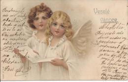 8437 - Joyeux Noël Deux Petits Anges Qui Chantent Veselé Vanoce - Natale