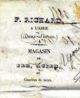 RARE ENTETE RICHARD FER ACIER CHARBON  L'ABSIE DEUX SEVRES 1855 à ROCHER ENGRAIS SAUMUR Maine & LOIRE B.E. V.HISTORIQUE - 1800 – 1899