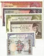 Old Set Of Pakistan 1,2,5,10,50,100 UNC Banknotes. - Pakistan