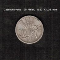 CZECHOSLOVAKIA    20  HALERU  1922  (KM # 1) - Checoslovaquia