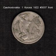 CZECHOSLOVAKIA    1  KORUNA  1922  (KM # 4a) - Czechoslovakia