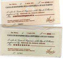 CASSA DI RISPARMIO REPUBBLICA DI SAN MARINO 1976 L.150/200 PAPER MONEY FDS/UNC - Otros – Europa