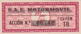 01332 Acciones S.A.E MOTORMOVIL - Automovilismo
