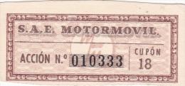 01334 Acciones S.A.E MOTORMOVIL - Automovilismo