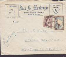 Argentina Airmail JOSE B. MONDRAGON, Deluxe POLVAREDAS 1948 Cover Letra To NEW YORK United States - Luftpost