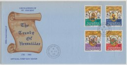 War, Ship, Bicentenary Of The Treaty Of Versailles, FDC St Vincent & Grenadines - St.Vincent Y Las Granadinas