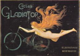 CPSM NOS CYCLISTES CYCLES GLADIATOR JEUNE FEMME NUE CHEVEUX AU VENT NUGERON - Pubblicitari