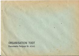 """Lettre Avec En-tete """" ORGANISATION TODT """" - Curiosities: 1941-44 Covers & Documents"""