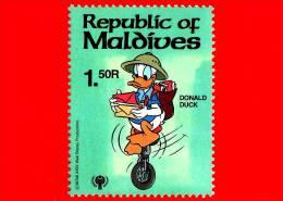 MALDIVE - Nuovo -  1979 - Personaggi Di Walt Disney - Paperino Sul Monociclo - Donald Duck  - 1.50 R - Maldives (1965-...)