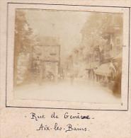 M- 2 Photos Stereoscopiques Stereo 40x45mm Vers 1900. Aix Les Bains Savoie France.rue De Geneve - Rue Des Bains - Photos Stéréoscopiques
