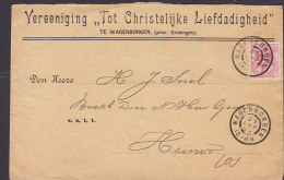 """Netherlands VEREENIGING """"TOT CHRISTELIJKE LIEFDADIGHEID"""" WAGENBORGEN 1899 Cover Brief To HEINOO (2 Scans) - Periode 1891-1948 (Wilhelmina)"""