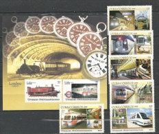Les Transports En Commun Urbain & Souterrain Célèbres (Paris,Mexico,Tokyo,New York,Londres,Caracas) 6 T-p + 1 BF Neufs - Eisenbahnen
