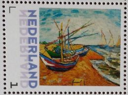 Persoonlijke Postzegel B13 Gegomd Mobiele OKI531 Printer Postex 2013 NIEUW!! Vincent Van Gogh Boats At St. Marie´s - Pays-Bas