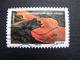 FRANCE OBLITERE 2012 N° 751 LA LAVE FETE DU TIMBRE: LE FEU SERIE DU CARNET AUTOCOLLANT ADHESIF - France