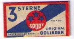 LAMETTA DA BARBA - 3 STERNE 3 STELLE SPORT- ANNO 1940-50 (CATALOGO RR) - Razor Blades