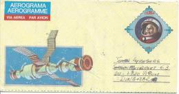 Aérogramme Oblitération Quasiment à Coté Du Document Espace Spationaute Satellite - Cuba