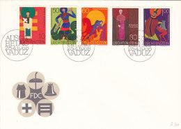 LIECHTENSTEIN 486, 489-490, 492-493,  Auf Brief FDC, St. Laurentius, St. Georg, St. Martin, St. Gallus, St. Theodul - FDC