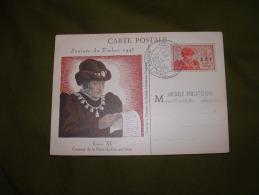 AFRIQUE / JOURNEE DU TIMBRE 1945 (2 F + 3F AOF Roi Louis XI). TRÈS BELLE Carte Avec Oblitération Saint Louis Du Sénégal. - Sénégal (1887-1944)