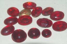 LOT De PIERRES PIERRERIES En VERRE Pour CREATION BIJOU ROUGE RUBIS à FACETTES - Perles