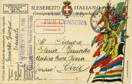 FRANCHIGIA POSTA MILITARE 1918 6° REGGIMENTO ALPINI MONTE BALDO X CIRIE' - 1900-44 Victor Emmanuel III