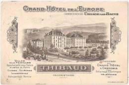Uriage-les-Bains - Grand Hôtel De L´Europe. Spa. France. Commercial. Publicité. Grenoble - Uriage