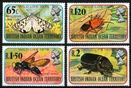 BRITISH INDIAN OCEAN TERR. (BIOT): Mi #86-89 Fauna: Insects, Butterflies / Insectes, Papillons (1976) MNH ** / Neufs ** - Territoire Britannique De L'Océan Indien