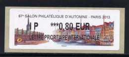 ATM-LABEL LISA 2 :  L PRIO INT 0,80 €   - PARIS/Danemark  6 Au 9 Novembre 2013 - 2010-... Abgebildete Automatenmarke