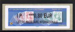 ATM-LABEL LISA 2  - L PRIO INT 0,80 € - PARIS/Marianne Ciappa/Kawena  6 Au 9 Novembre 2013 - 2010-... Abgebildete Automatenmarke