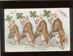 1er Avril 4 Cochons à Attitude Humaine Apportant Un Trèfle à 4 Feuilles  édit. SoS  Ils Sont Tous Jolis & Fringuants - Cochons