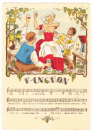 Carte Illustrée Fanchon (Elle Aime à Rire, Elle Aime à Boire) La Serveuse Et Gais Lurons, Partition,couplets Et Refrain - Musique Et Musiciens