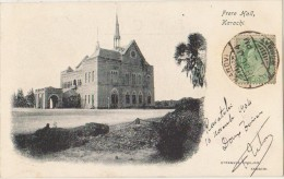 CPA PAKISTAN KARACHI Frere Hall Religion Mission Strange Envelope Stamp Reglued Front 1904 - Pakistan