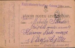 Romania/Hungary-Field Post Postcard 1914 K.u.k.Infanterie Verpflegs-Kolonne,circulated To Nagyajta ,Ardeal- 2/scans - World War 1 Letters
