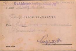 Romania/Hungary-Field Post Postcard 1914 K.u.k.Infanterie Verpflegs-Kolonne 1/38,circulated To Nagyajta ,Ardeal- 2/scans - Cartas De La Primera Guerra Mundial