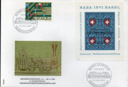 Train-Expo INTEBA 1972 Zürich Schweiz Block 21 + FDC 8€ First Day Cover Blocchi Bf M/s Bloc Philatelic Sheet Of Helvetia - Stamp's Day