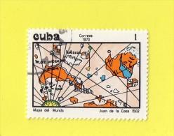 CUBA ,,, CARTE DE PAYS ,,, JUAN DE LA COSA 1502 ,,, ** 1 ** ,,, POSTE 1973 ,,, NEUF / OB ,, TBE - Cuba