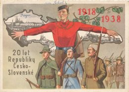 TCHECOSLOVAQUIE - Carte Patriotique - 20° Anniversaire De La Fondation De La République - 1938 - Tsjechië