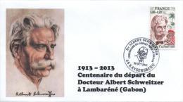 Cachet Temporaire Albert SCHWEITZER Expo KAYSERSBERG 100 Ans Départ Gabon 01 - Albert Schweitzer