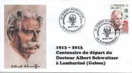 Cachet Temporaire Albert SCHWEITZER Expo KAYSERSBERG 100 Ans Départ Gabon 04 - Albert Schweitzer