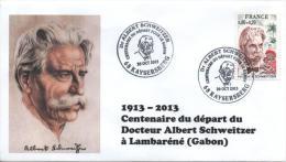 Cachet Temporaire Albert SCHWEITZER Expo KAYSERSBERG 100 Ans Départ Gabon 05 - Albert Schweitzer