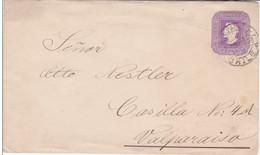CHILI - 1896 - ENVELOPPE ENTIER POSTAL De VALPARAISO - Chili