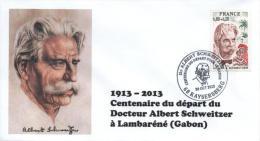 Cachet Temporaire Albert SCHWEITZER Expo KAYSERSBERG 100 Ans Départ Gabon 06 - Albert Schweitzer